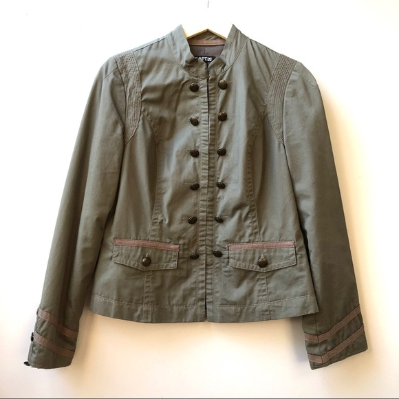 Apt 9 Army Military Jacket Coat Green Buttons S